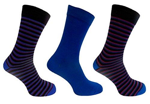 Chaussettes Alexander Vert pour homme 7–11 robe chaussettes à rayures style, Bleu,