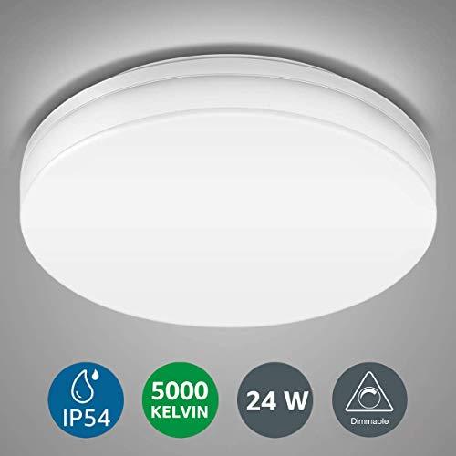 LE 24W Dimmbar Deckenlampe, IP54 Wasserfest Badlampe, Ø33x4.8cm 5000K 2100lm LED Deckenleuchte, Kaltmweiß Badezimmerleuchte, Rund Flach Lampen Ideal für Küche,Badezimmer,Balkon,Flur,Bad,Wohnzimme