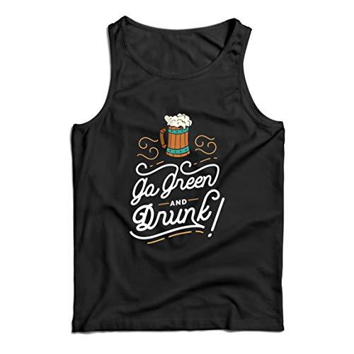 lepni.me Camisetas de Tirantes para Hombre IR Verde y Borracho Feliz Día de la Cerveza (XX-Large Negro Multicolor)