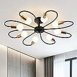 Qcyuui Lámpara de techo de 8 luces, moderna Lámpara de araña Sputnik de metal industrial, accesorio de iluminación colgante vintage para cocina, comedor, sala de estar, dormitorio (negro y dorado)