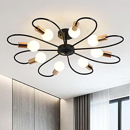 Qcyuui 8 luci semi plafoniera, moderno lampadario Sputnik illuminazione a sospensione in metallo, lampada da soffitto industriale vintage per cucina sala da pranzo soggiorno camera da letto