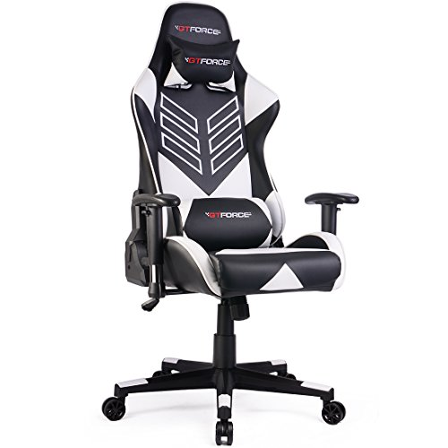 GTFORCE PRO ST Reclining Sports Racing Gaming Office Desk PC CAR Faux Leather Chair (White)