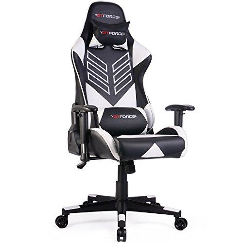 GTFORCE PRO ST - Gaming-Stuhl für E-Sport und Rennspiele - PC-Stuhl für das Büro - Liegepositionen - Kunstleder - Weiß