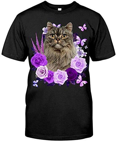 Turkish Angora Cat Purple Flower T Shirt T Shirt Funny Vintage Gift for Men W. Short-Sleeved Shirt Top Sweatshirt Black XS