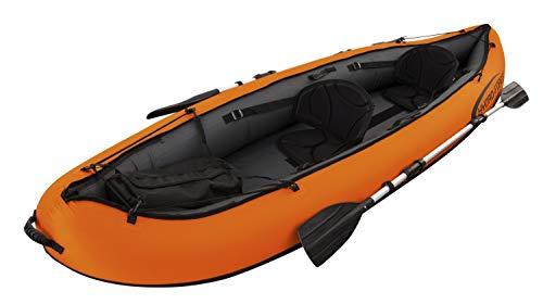 Flotador kayak con asiento con remos y bomba Medida: 330 x 94 cm 3 cámaras de aire independientes Válvulas para un rápido llenado y vaciado Cuerdas de sujeción sujetas a anclajes soldados a la estructura. Casco forrado en nylon premium resistente al ...