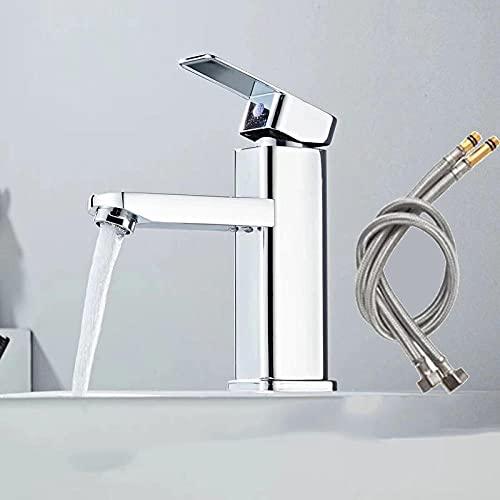 Grifo de lavabo de baño negro y dorado Grifo mezclador frío y caliente de aluminio cuadrado Grifo de lavabo de latón con cascada de una manija-Plata