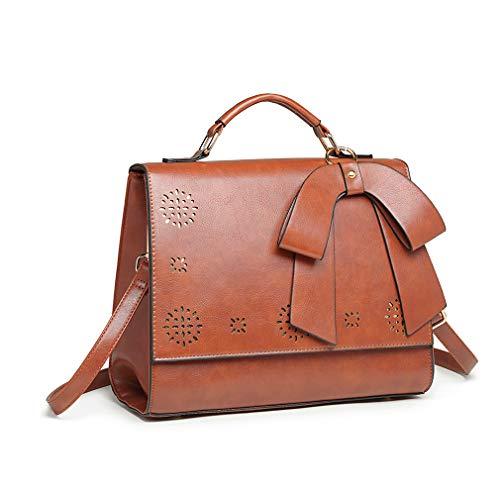 Miss Lulu Fashion School Bag Shoulder Crossbody Stachel Bags For Women (Brown)
