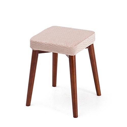 Tabouret carré, peut être tabouret empilé, tabouret dressing mode créatif, tabouret de table en tissu, petit banc à la maison, tabouret en bois massif (Couleur : Lotus root pink)