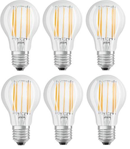 6 Stück OSRAM LED Star Classic A 100, 11 Watt, Sockel: E27, Nicht Dimmbar, Warmweiß, Ersetzt eine herkömmliche 100 Watt Lampe, Filament