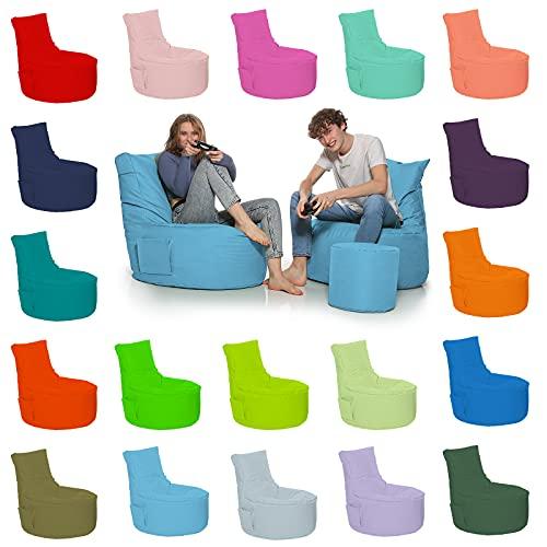 HomeIdeal - Gamer Sitzsack Lounge Bodenkissen für Erwachsene & Kinder - Gaming oder Entspannen - Indoor & Outdoor da er Wasserfest ist - mit EPS Perlen, Farbe:Hellblau, Größe:Erwachsene