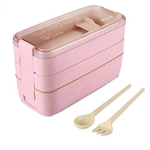 WOT I Lunchbox Bento Box Eco Brotdose für Kinder und Erwachsene 3-Compartment Auslaufsicher Mikrowelle aus Weizen Biologisch - Abbaubar Plastikfrei - BPA Frei - Pink