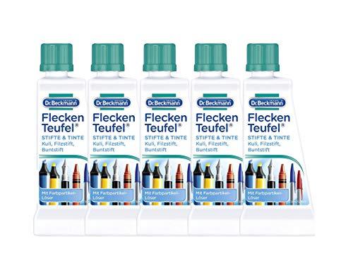 Dr. Beckmann Fleckenteufel Stifte & Tinte | 5 x 50 ml | Fleckenentferner mit Farbpartikel Löser