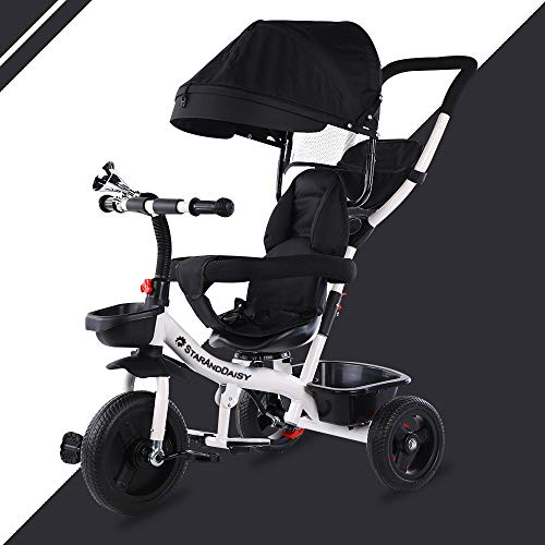 StarAndDaisy Kids Classy Tricycle Mult-Color Options, Push-Type Stroller Cycle Scooter for Kids from 1-5 Years (White & Black)
