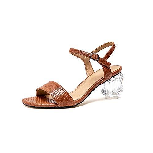 Sandalias Mediados De Grande Tamaño De Los Zapatos De Tacón De La Mujer,Marrón,40