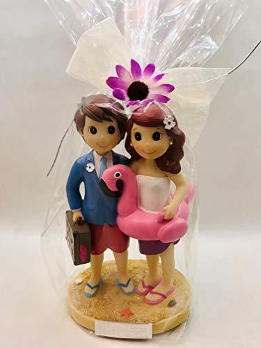 Figura tarta GRABADA muñecos boda novios viajeros playa graciosos