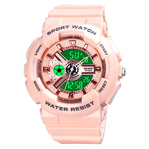 Womens Digital Sports Watch Large Face Sports Outdoor Waterproof Military Chronograph Wrist Watches for Women with Date Multifunction Tactics LED Army Stopwatch Pink