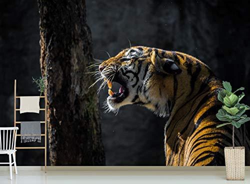 AJ UK Acmy 3D Tiger 250 Tier-Tapete, Wandbild, entfernbar, selbstklebend, groß, gewebtes Papier (benötigt Kleber), 520 x 290 cm (B x H)