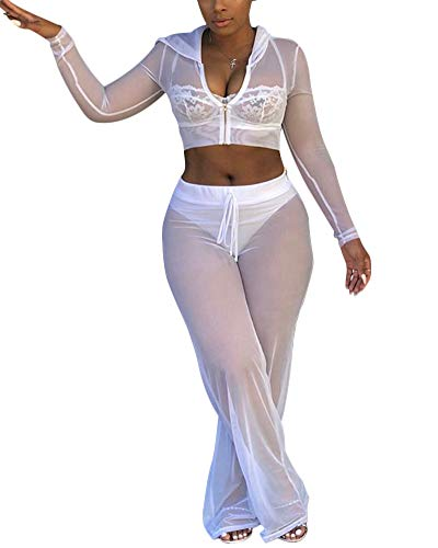 Womens See Though Sheer Mech Hoodies Crop Top Pants Set 2 Piece Outfits Bikini Swimsuit Cover up White XL