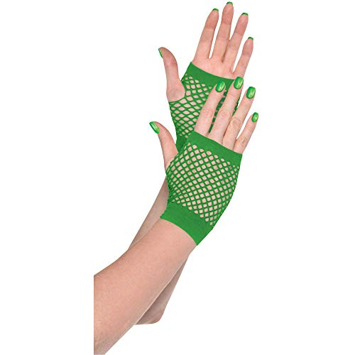 Amscan Short Fishnet Gloves, Party Accessory, Green