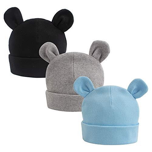 JANGANNSA Winter Baby Newborn Hat Cotton Baby Boy Beanie Autumn Infant Girls Hats 0-6Months 3 Pack (Black+Grey+Blue)
