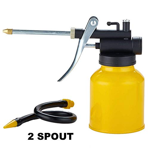 Junchi High Pressure Pistol Pump Oil Can with Metal & Long Flex Spout 250ml