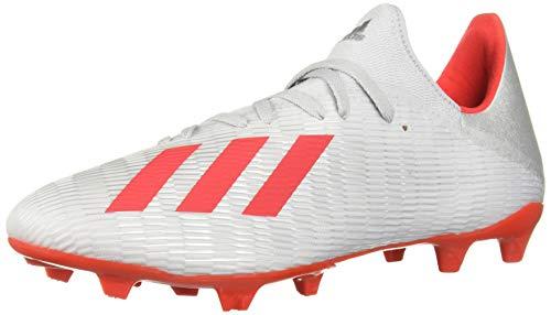 adidas Zapatillas de fútbol para hombre X 19.3 Firme Ground, gris (Plateado metálico/rojo de alta resolución/blanco), 40 EU