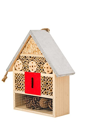 SKOOLIX Hanging Insect House for Gardens ~ Perfect Habitat for Ladybugs(Ladybirds), lacewings, Butterfly, Mason Bees, Solitary, Leaf Cutter (Lawn & Patio)