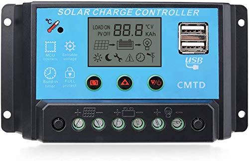 ANFIL Regolatore di Carica Solare PWM 20A 12V/24V Pannello Regolatore Intelligente con Porta USB e Display LCD Multifunzione Parametri Protezione da Sovraccarico Compensazione della Temperatura