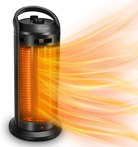 2-In-1 Space Radiant Heater - 120° Oscillation Infrared Heater for Indoor, 1500W Electric Heater, 4 Heating Modes, Garage Heater with Dual-Protection, Quiet Fast Heating Patio Heater