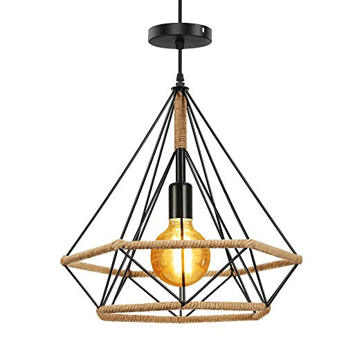 Horevo Lámpara de Techo Retro Vintage Industrial, Colgante Lámpara Negro Metal, Loft luz forma de Diamante, E27 Base de la Bombilla, para Cocina, Restaurante, Comedor (incluyendo 8W bombilla)