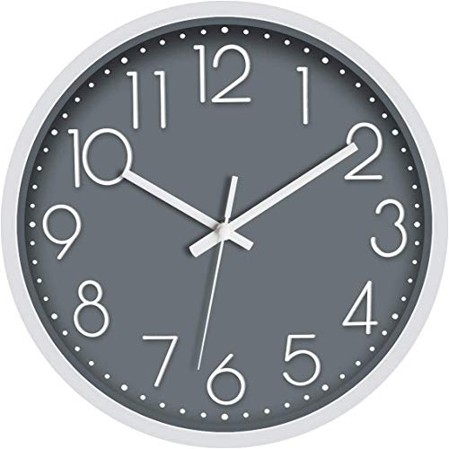 Foxtop 30 cm Modern Quartz Lautlos Wanduhr Schleichende Sekunde ohne Ticken Analoge Wanduhr für Dekoration Wohnzimmer, Küche, Büro, Schlafzimmer (Grau)