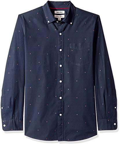 Amazon-Marke - Goodthreads Herren Dobby-Hemd, langärmlig, normale Passform, Blau (Navy Arrow Arr), US L (EU L)