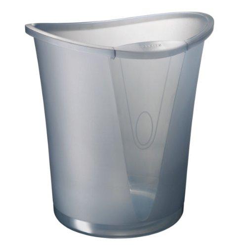 Leitz Papierkorb, 18 Liter, Kunststoff, Grau Transparent, Allura, 52040092