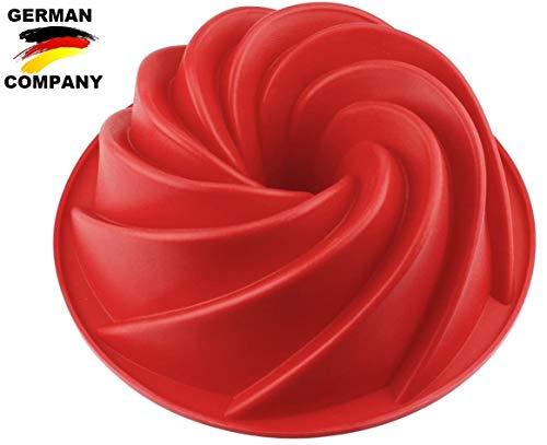 HelpCuisine Premium Qualität Silikon Kuchenform Backform Kuchenbackform Flexibel Gugelhupf Form in rot Ø 24 cm