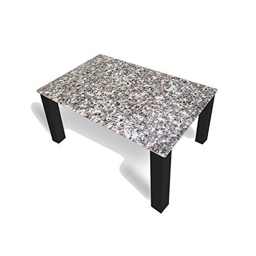 DekoGlas Couchtisch 'Granit Grau' Glastisch Beistelltisch für Wohnzimmer, Motiv Kaffee-Tisch 90x55 cm in Schwarz oder Weiß