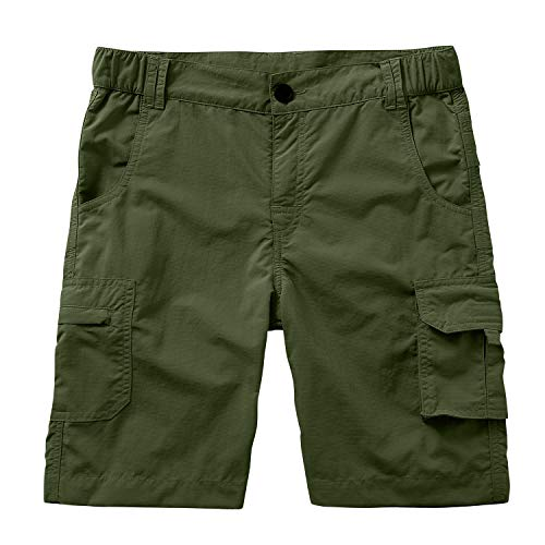 Asfixiado Kids' Boys' Cargo Shorts Outdoor Quick Dry Elastic Waist Fishing Camping Casual Fishing Cargo Shorts #9048 Army Green-M