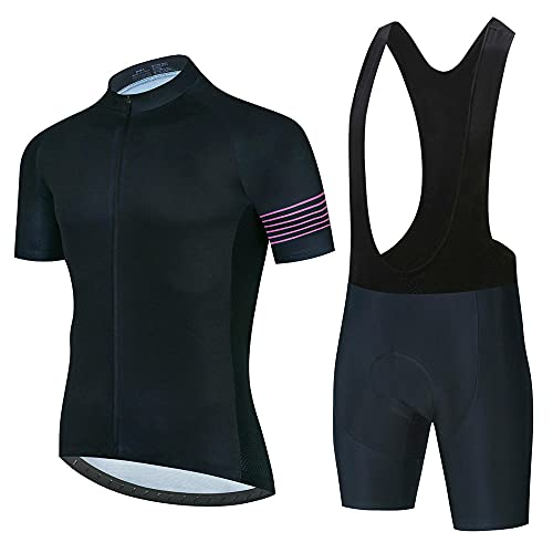 HXTSWGS Mountain Bike Short Sleeve Cycling Suit,Summer Breathable Cycling Jersey Set Team Racing Jersey Sport Bicycle Shirt Pro Men Cycling Clothing-A14_L
