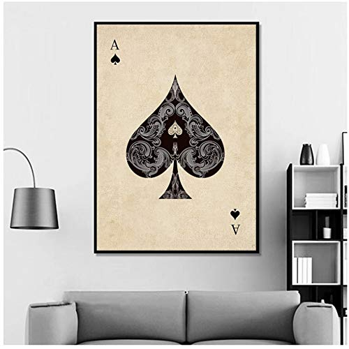 YBlove Ace Diamond Heart Póquer Barajas de Cartas Vintage Imprimir en Lienzo Decoración Moderna para el hogar Poster Wall Art Picture Painting 60x90cm Sin Marco