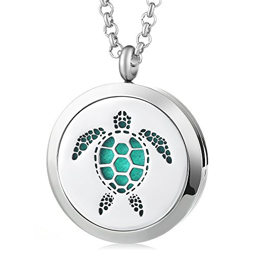 Garden Charms 316L Stainless Steel Necklace Fragrance Essential Oils Diffuser Locket Hollow Turtle Aromatherapy Diffuser Locket Pendant Jewelry with 5pcs Felt Pads Best Gift (GCVA405)
