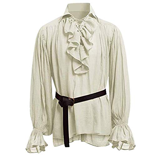Men's Medieval Pirate Lace Up Stand Collar Wide Cuff Costume Shirt Tops Beige