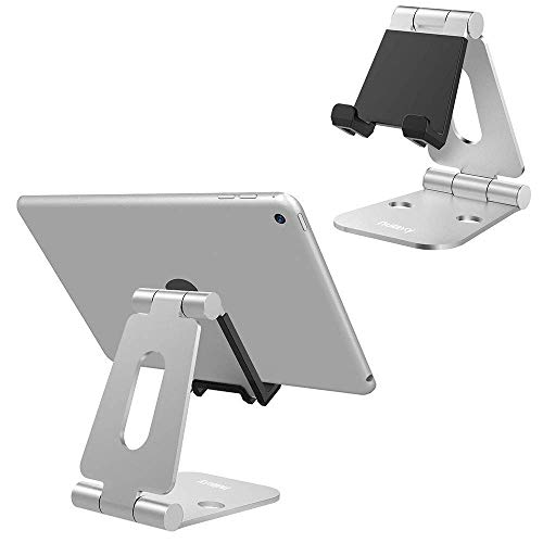 Nulaxy Supporto per Tablet Pieghevole, Supporto da Tavolo per Nintendo Switch Stand per iPad Air PRO iPhone X 8 7 6 Plus Tablets per Tablet Android Galaxy Tab Android (4-10 Pollici) -Argento