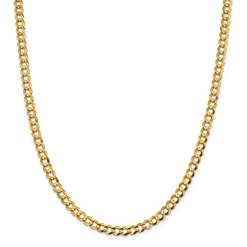 14k Yellow Gold 5.9mm Lightweight Flat Cuban Chain Necklace 24 Inch Pendant Charm Curb Miami Fine Jewellery For Women Gifts For Her