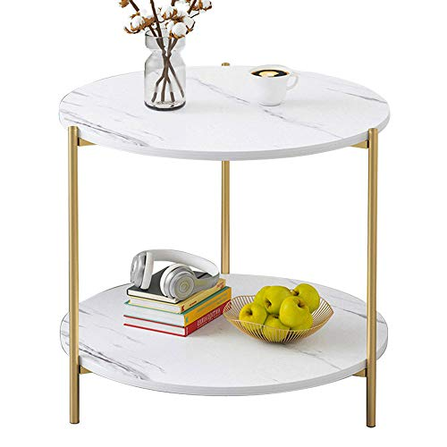PAMBOO End Table Small Table Marble Pattern Wooden Double Sofa Side Table Coffee Table Suitable for Living Room Office (Circle, White)