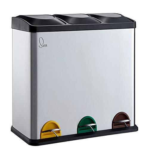 SVITA TC3X20 Edelstahl Treteimer 60 Liter Silber 3x20L dreifach XXL Abfalleimer 3er-Mülleimer Mülltrennung Küchen-Eimer