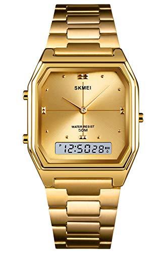 Herrenuhr Silber Digital Edelstahl Uhr Rosegold LED Backlight Mann Armbanduhr Männlich Stoppuhr Analog Wasserdicht Quarz Wecker Datum Kalender