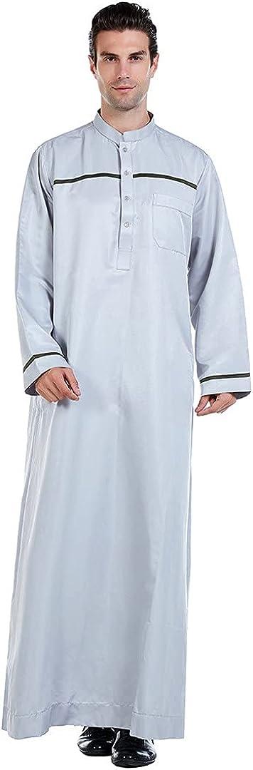 Man Casual Saudi Arabia Jubba Thobe Men Abaya Muslim Robe Long Sleeve