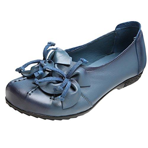 Vogstyle Damen Frühjahr/Sommer Vintage Handgefertigte Große Blume Leder Flache Schuhe Art 4-Blau EU 41/42=Asian 42