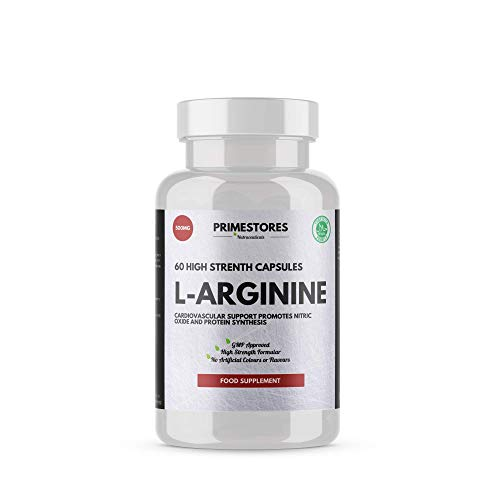 L-Arginine Muscle Growth Tablets 500mg - 60 Powder Capsules - High Strength Halal Product Blood Circulation Nitric Supplement Pills by Primestores