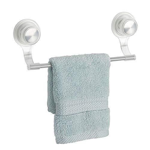 mDesign toallero Elegante de Acero Inoxidable y plástico Color Plateado - Toallero Pared Deal para Rollos de Cocina o Toallas - Toallero de Pared con Ventosa Extra Fuerte