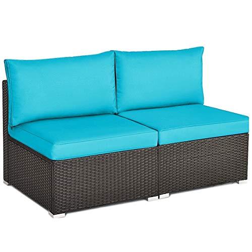 7DIPT 2PCS Patio Rattan Armless Sofa with Cushion (Blue)